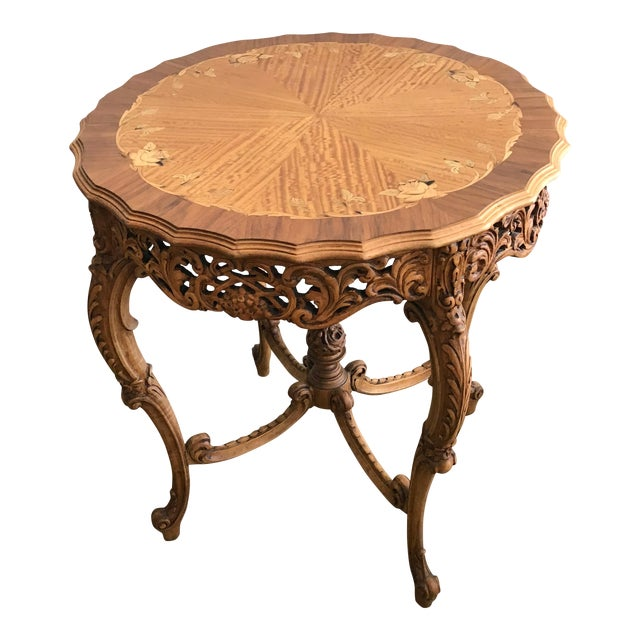 20th Century French Inlaid Wood Entry Table For Sale