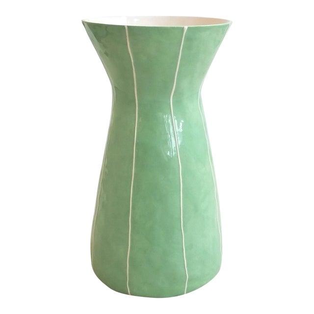 Modern Handmade Celery Green Ceramic Vase For Sale