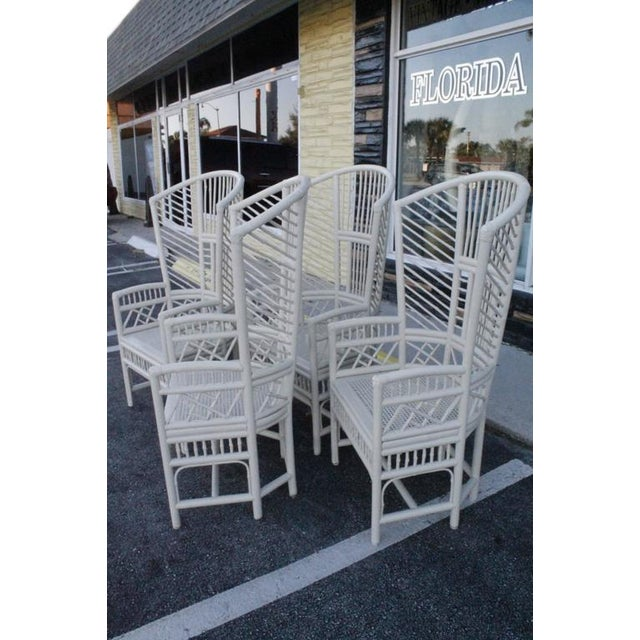 Brighton Pavilion High Back Rattan Chinese Chippendale Chairs - Set of 4 - Image 6 of 11