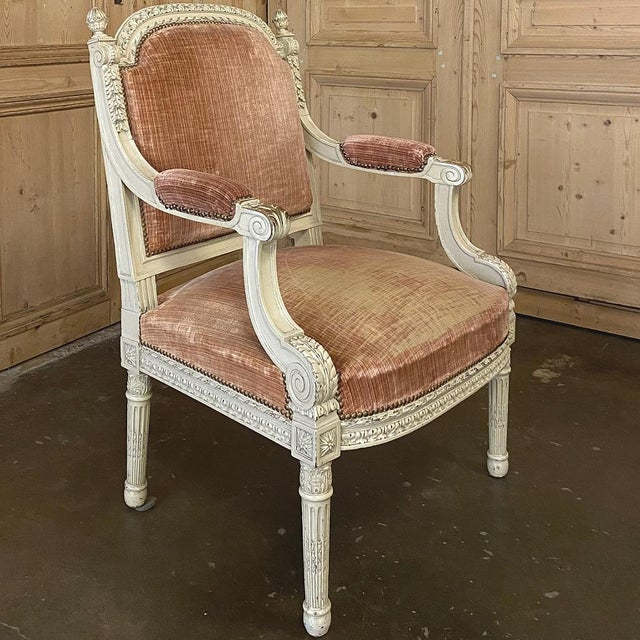 Pair 19th Century French Louis XVI Painted Armchairs ~ Fauteuils For Sale - Image 9 of 13