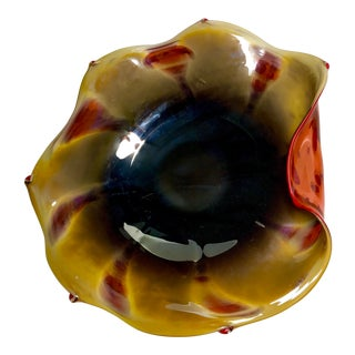 Abstract Garcia Art Glass Folded Rim Bowl For Sale