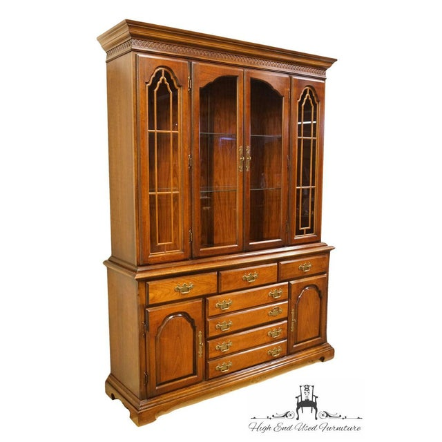 "Bernhardt Furniture solid cherry 60"" buffet with illuminated display china cabinet. We specialize in high end used..."