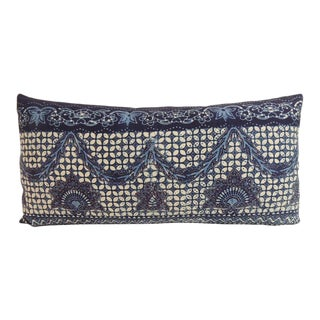 Vintage Blue and White Indian Bolster Decorative Pillow
