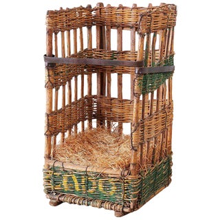 19th Century French Wicker Harvest Display Basket For Sale