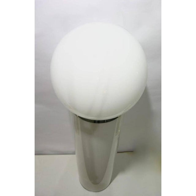 1960s Lom 1960s Italian Minimalist Cylindrical Double Lit White Floor Lamp For Sale - Image 5 of 8