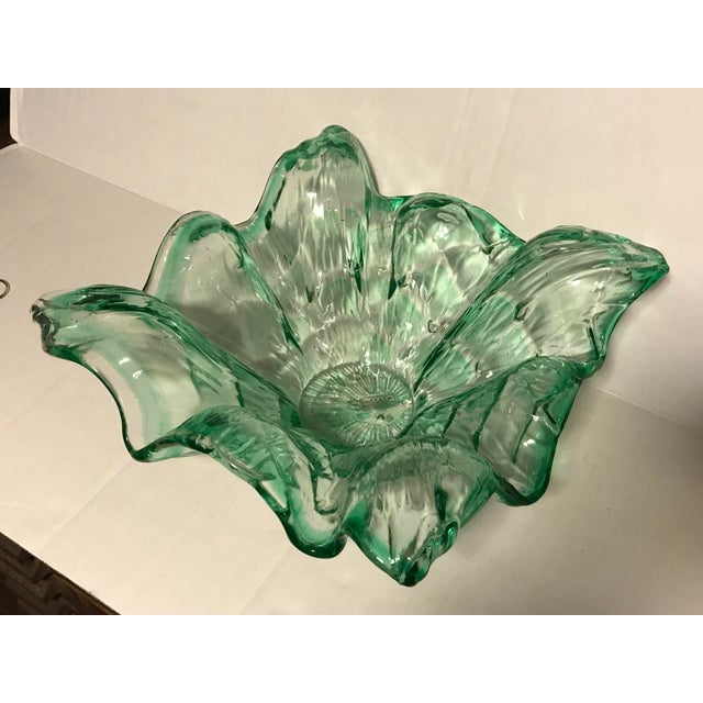 Vintage Mid-Century Modern Murano Italy Hand Blown Green Bowl For Sale - Image 13 of 13
