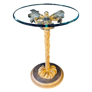 Diminutive Italian Glass Top Palm Tree Form End or Side Table / Candle-Stand. For Sale