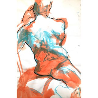 "Contemporary Figure Drawing in Orange Ink, Teal Pastel, and Black Charcoal, ""Twisting Figure in Orange and Teal"" by Artist David O. Smith For Sale"