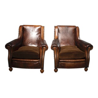 Pair of Art Deco Leather Chairs With Alpaca Velvet Seats For Sale