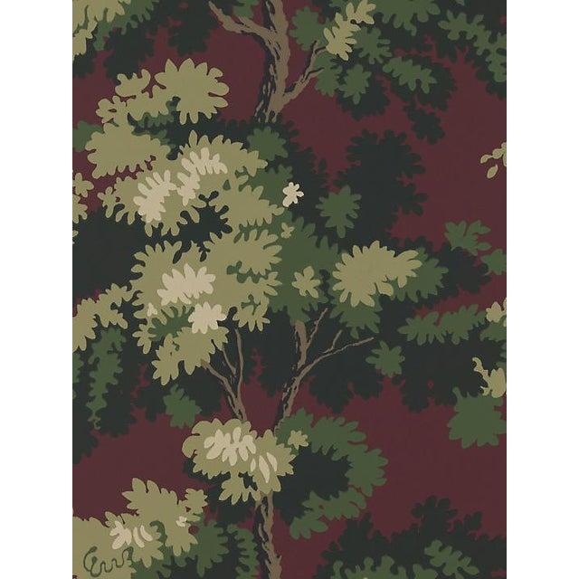 Traditional Sample, Scalamandre Raphael, Dark Red/Green/Lh Wallpaper For Sale - Image 3 of 3