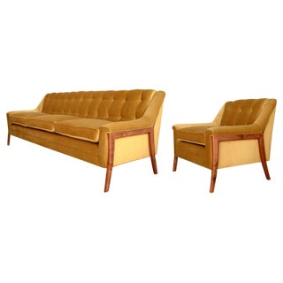 Mid-Century Style Sofa & Chair For Sale