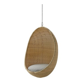 Nanna Ditzel Exterior Hanging Egg Chair - Natural - Sunbrella Sailcloth Seagull Cushion with 5 Foot Chain For Sale