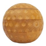 Image of 1970s Vintage Alfonso Bini Italian Golf Ball Carved Wood Ice Bucket For Sale