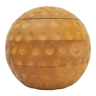 1970s Vintage Alfonso Bini Italian Golf Ball Carved Wood Ice Bucket For Sale