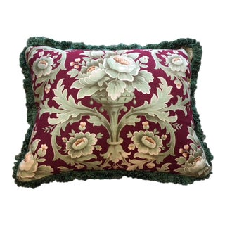 19th Century French Damask Fabric Pillow For Sale