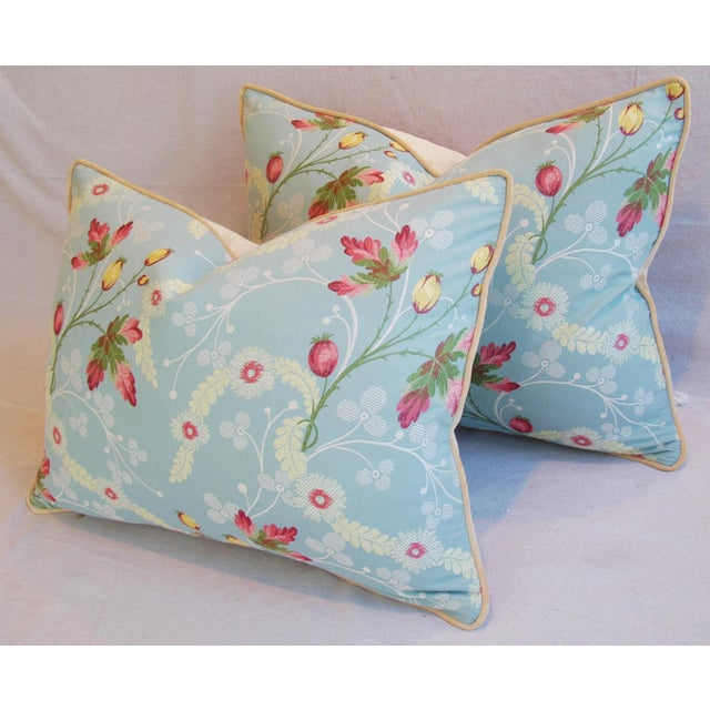 Powder Blue Scalamandré Floral Brocade Pillows - A Pair - Image 9 of 11