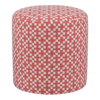 Drum Ottoman in Red Hopscotch For Sale