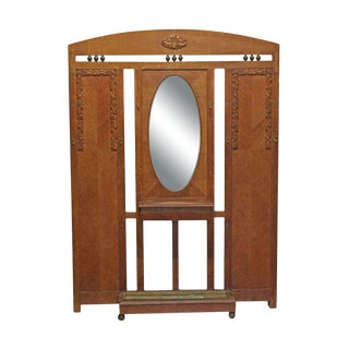 Oak Art Deco Hall Tree With Beveled Mirror For Sale