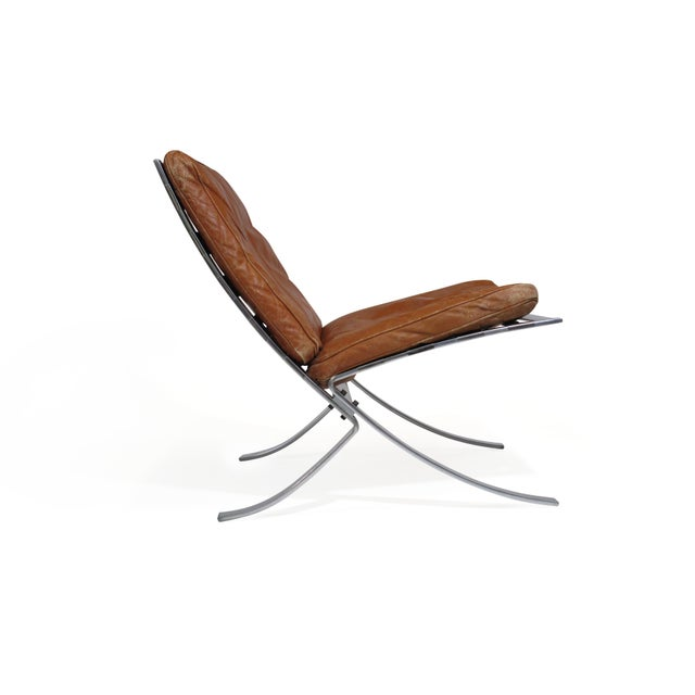 Steen Ostergaard Steel and Leather Lounge Chair & Foot Stool For Sale In San Francisco - Image 6 of 13