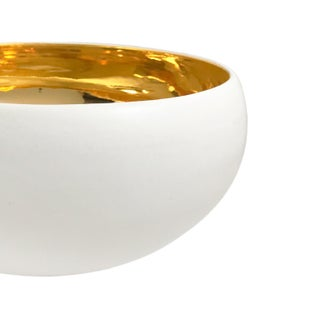 Large Alabaster and 22-Karat Gold Glaze Curved Ceramic Bowl by Sandi Fellman Preview
