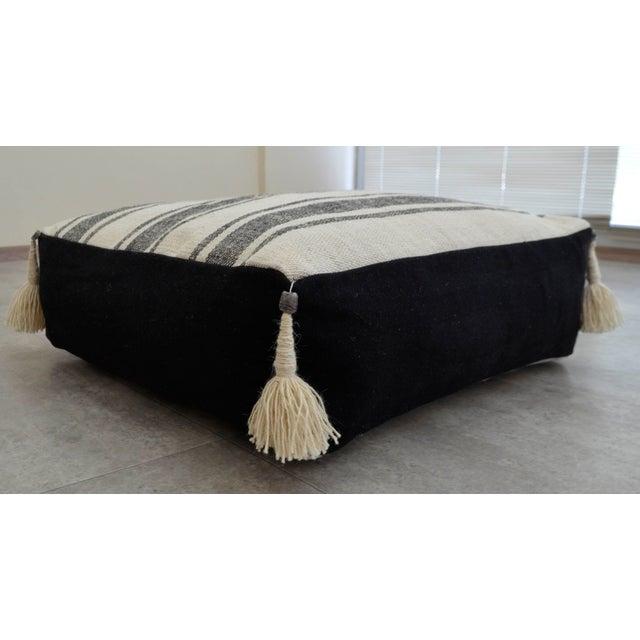 Boho Chic Turkish Handmade Kilim Floor Cushion For Sale - Image 3 of 7