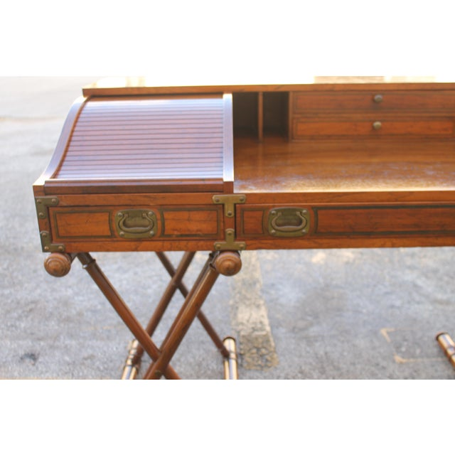 Vintage Campaign Rolltop Desk For Sale In Miami - Image 6 of 13