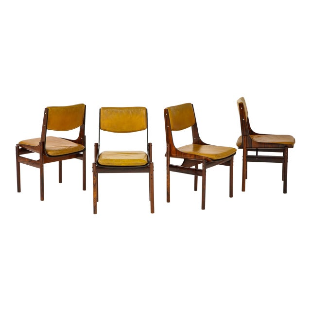 Jacaranda and Leather Dining Chairs From Brazil - Set of 4 For Sale