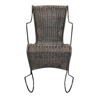Modern Metal Frame Wicker Chair For Sale