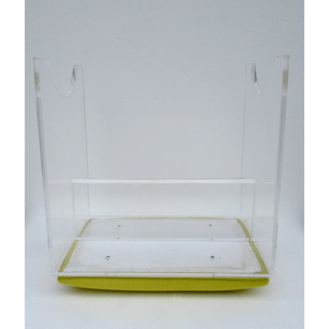 Vintage Mid-Century Lucite Bench With Sunbrella Indoor/Outdoor Textile For Sale - Image 12 of 13