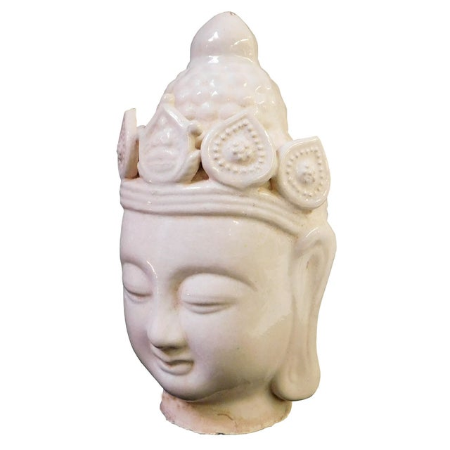 Chinese Ceramic Clay Kwan Yin Head Figure - Image 5 of 7