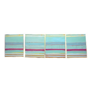 1980s Vintage Four Panel Abstract Geometric Seaside Pastel Horizontal Line Paintings - Set of 2 For Sale