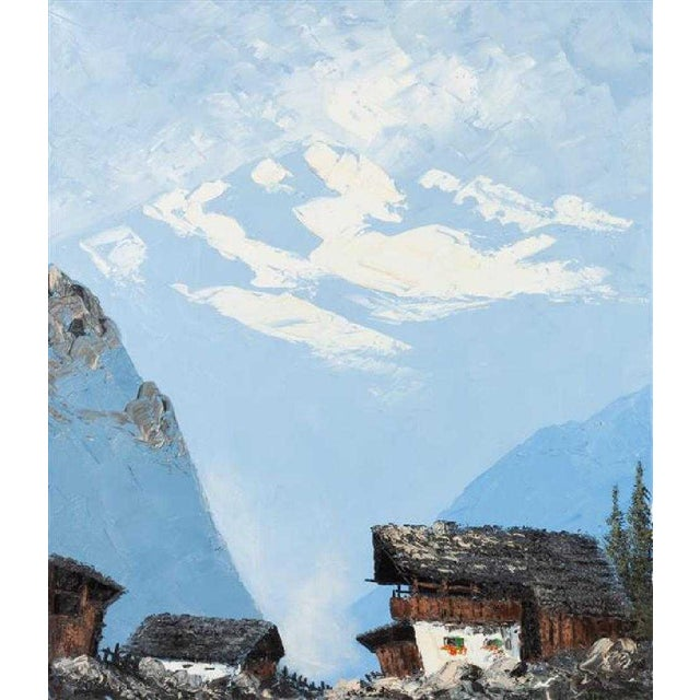 Cabin Vintage Swiss Alps and Cabin Large Framed Painting For Sale - Image 3 of 12