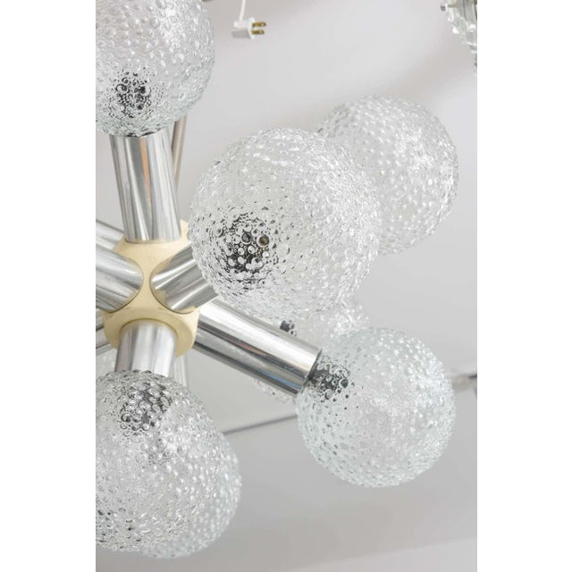 Mid-Century Modern Polished Chrome and Bubble Glass Chandelier Modified Space-Age Style For Sale - Image 3 of 11
