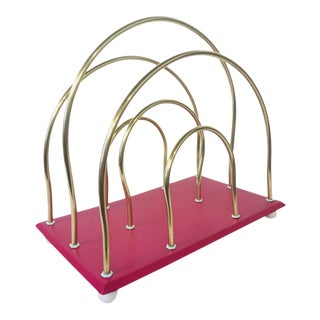 Painted Brass Magazine Rack For Sale