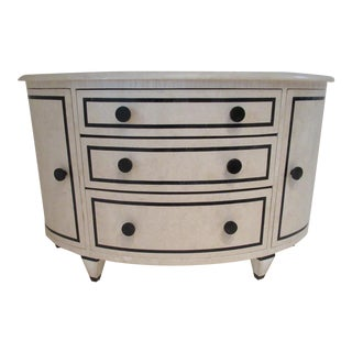 1987-89 Maitland-Smith Style Custom Tessellated Marble Demi-Lune Bow Front Credenza For Sale