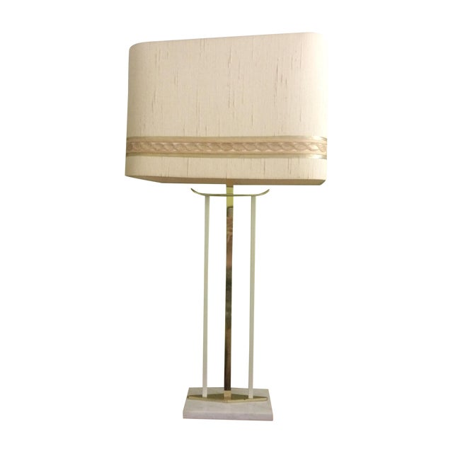 Mid-Century Brass & Marble Table Lamp For Sale