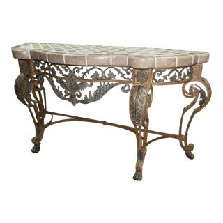 Maitland Smith Tiled Stone Top Iron Console Table For Sale