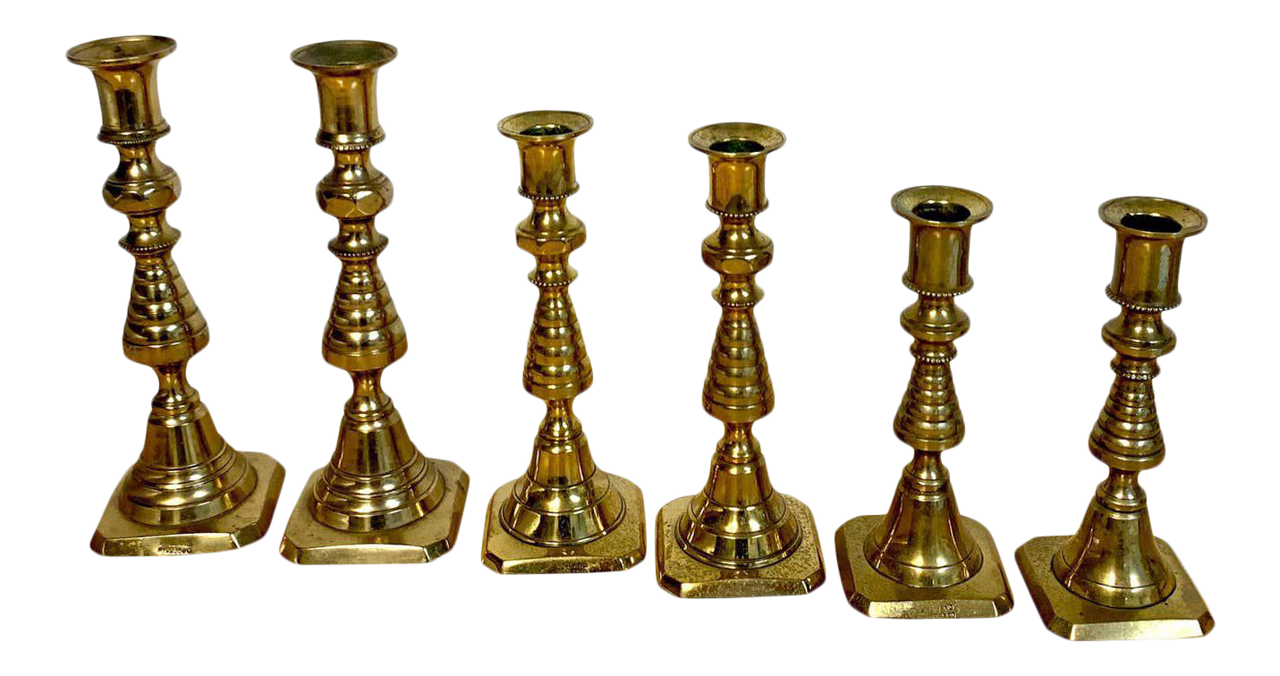 Pair of Tarnished Brass Candlestick Holders  Boho  Gothic  Victorian
