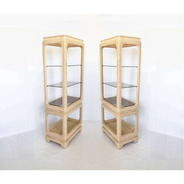 Pair of Vintage Mid-Century Modern Pencil Reed Bamboo Rattan Etageres For Sale - Image 4 of 12