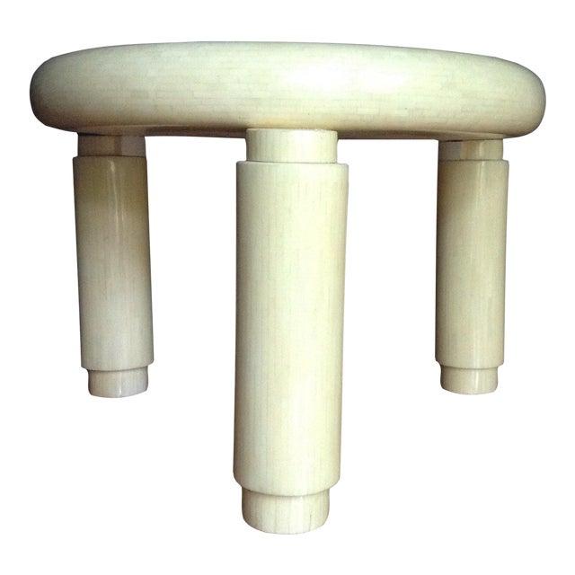 Karl Springer Style Corner Table in Tessellated Bone Enrique Garcel , Circa 1970s For Sale