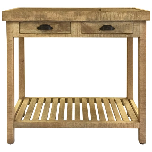 Early 20th Century Two Drawer Mango Wood Console Table With Marble Top For Sale - Image 5 of 6