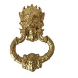 Image of Vintage Large Heavy Brass Mid Century Devil's Head Door Knocker For Sale