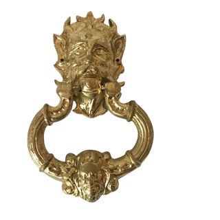 Vintage Large Heavy Brass Mid Century Devil's Head Door Knocker For Sale