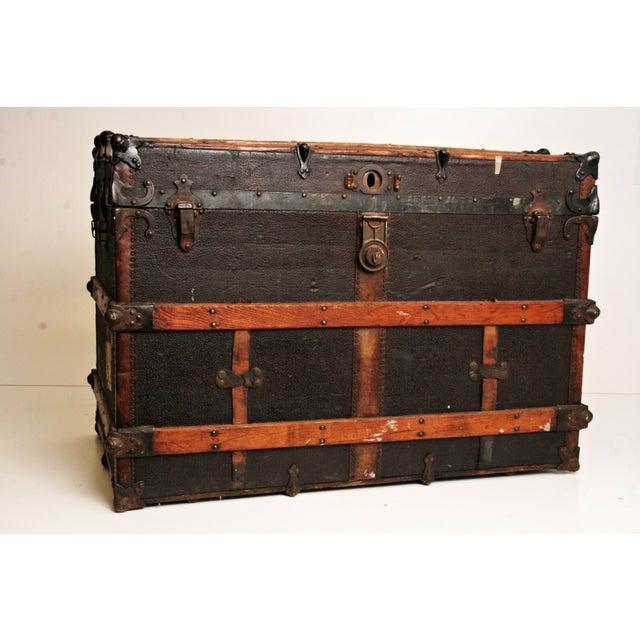 Antique Wood Steamer Trunk - Image 2 of 11