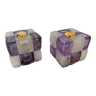 Glass Cube Lamps by Poliarte. Italy, 1970s - a Pair For Sale