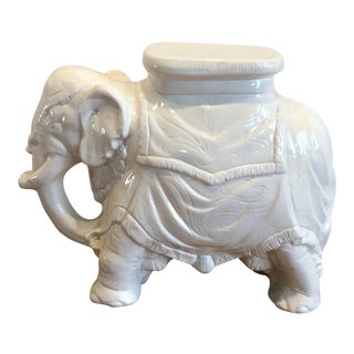 Vintage White Ceramic Elephant Garden Seat Table For Sale