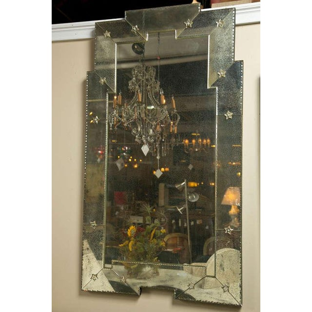 Art Deco Style Distressed Venetian Mirrors - Pair - Image 2 of 5