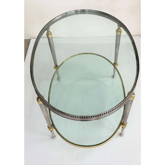 1970s Trouvailles Steel Glass and Brass Oval Cocktail Table For Sale - Image 5 of 13