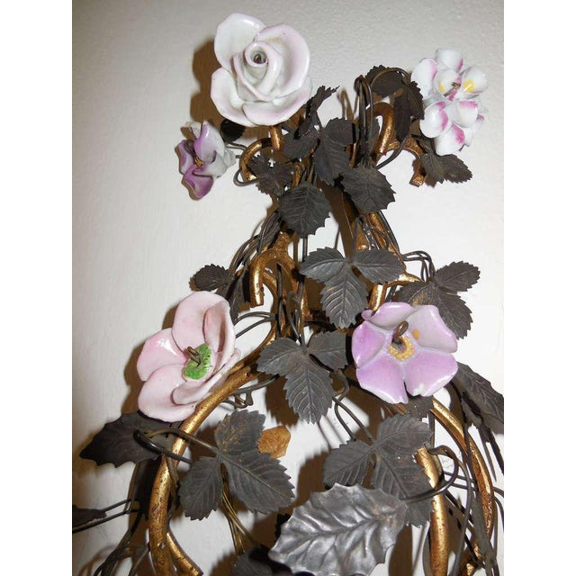 French Huge Porcelain Flowers Roses Tole Sconces For Sale - Image 4 of 10