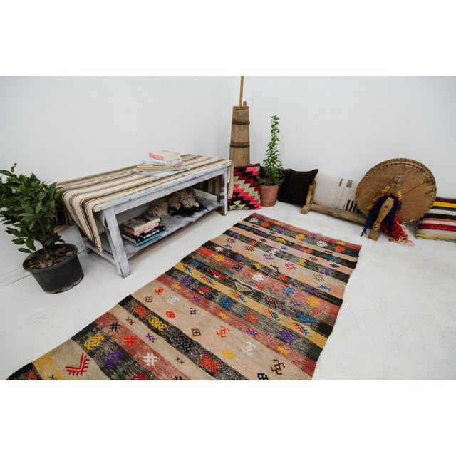 Decorative Vintage Turkish Kilim Runner- 3′3″ × 8′8″ For Sale In Los Angeles - Image 6 of 7